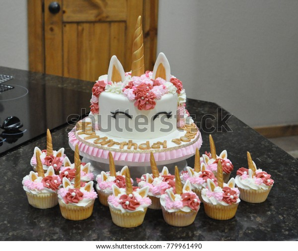 Admirable Unicorn Birthday Cake Cupcakes Stock Photo Edit Now 779961490 Funny Birthday Cards Online Elaedamsfinfo