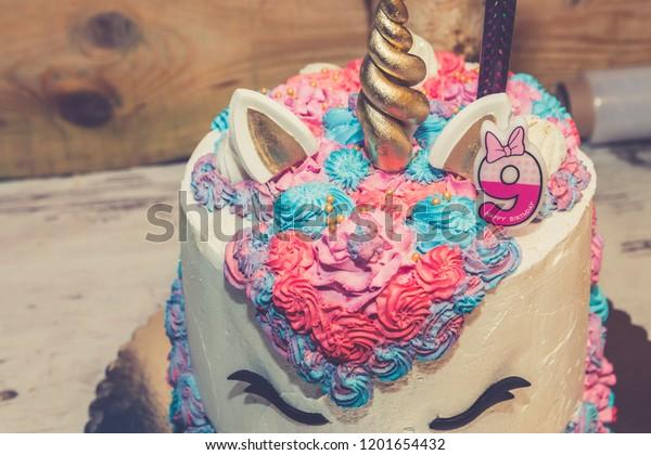 Superb Unicorn Birthday Cake Little Girls Decorated Stock Photo Edit Now Funny Birthday Cards Online Elaedamsfinfo