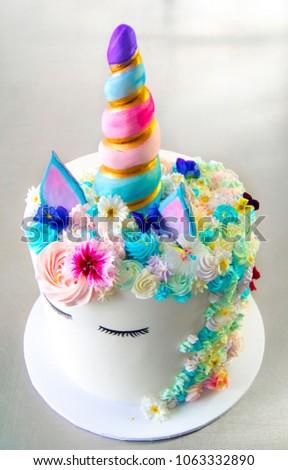Unicorn Birthday Cake White With Multicolour Decoration Stunning And Feminine