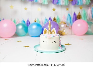 Unicorn Cake with Balloons and Streamers