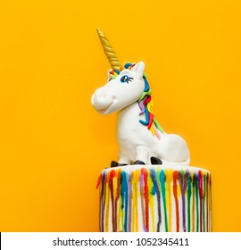 Unicorn cake topper made with in sugar paste or Fondant.