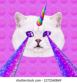 Unicorn Candy Cat with lasers from eyes. Minimal collage fashion concept