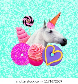 Unicorn Candy lover. Contemporary art collage. Funny Fast food project