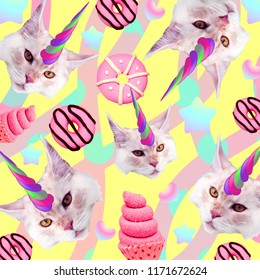 Unicorn Cat. Candy lover. Contemporary art collage. Funny Fast food project