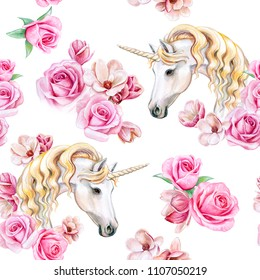 Unicorn with golden mane and flower wreath isolated on white background. Seamless Pattern. Watercolor. Illustration. Template. Clip art.