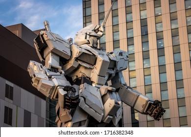 UNICORN GUNDAM, TOKYO, JAPAN- OCTOBER 2019:-The statue of Gundam is situated on Odaiba Island in Tokyo bay