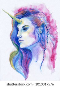 Unicorn. The hand drawn make up and hair style fashion drawing. Ink illustration
