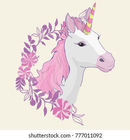 Unicorn icon isolated on white. Head portrait horse sticker, patch badge.