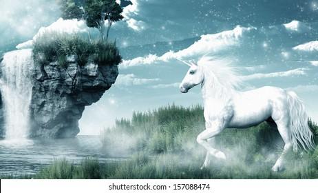Unicorn and misty waterfall