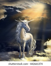 Unicorn on a background of sunset in the clouds