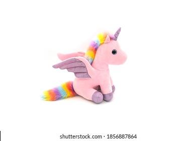 Unicorn plush toy. Isolated on white background