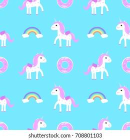 unicorn rainbow cake seamless pattern  raster