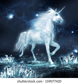 Unicorn running through crystal field