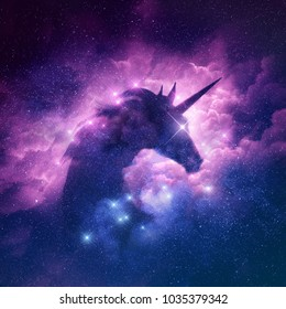 A unicorn silhouette in a galaxy nebula cloud. Illustration concept.
