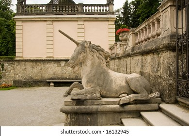 unicorn statue in mirabell garden, salzburg