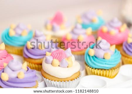 Unicorn Theme Vanilla Cupcakes Kids Birthday Stock Photo Edit Now