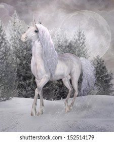 Unicorn in a winter scenery