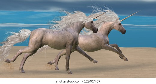 Unicorns - Two white unicorn horses gallop together in the desert.