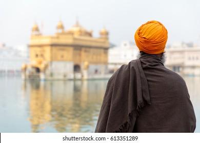 Unidentifiable Sikh at Seekh temple Golden Temple (Harmandir Sahib). Amritsar, India