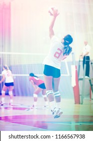 Unidentifiable woman volleyball player with stylized toning