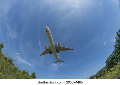 Unidentified aircraft flies above taken with a fisheye lens.
