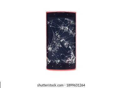 Unidentified brand of Smartphone mobile phone with Broken Screen glass. Old used  touch screen gadget