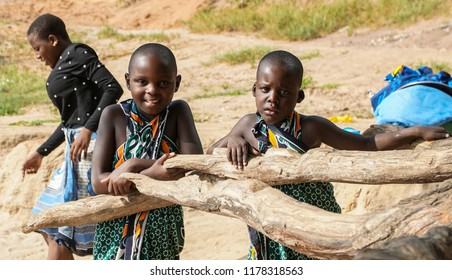 Unidentified children in the Selous National Park, Tanzania, circa January 2018