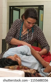 Unidentified doctor in a rural hospital in Raxaul, Bihar state, India, circa Nov. 2013