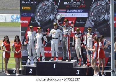 Unidentified drivers celebrate after Blancpain GT Series Asia 2017 at Chang International Circuit on May 20,2017 in Buriram,Thailand.