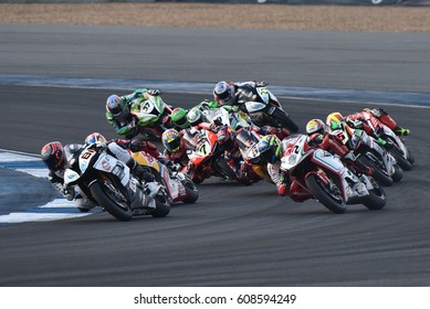 Unidentified drivers rides during WorldSBK at the World Superbike Championship 2017 (WorldSBK Motul Thai Round) at Chang International Circuit on March12,2017 in Thailand