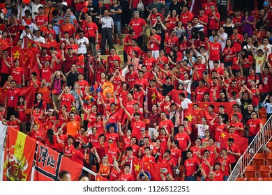 Unidentified fans of of China supporters during 2018The International Friendly Match between Thailand and China at the Rajamangala Stadium on June 2, 2018 in Bangkok,Thailand,