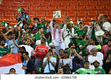 Unidentified fans of of Saudi Arabia supporters during 2018 FIFA World Cup Qualifier Group B between Thailand and Saudi Arabia at the Rajamangala Stadium on March 23, 2017 in Bangkok,Thailand,