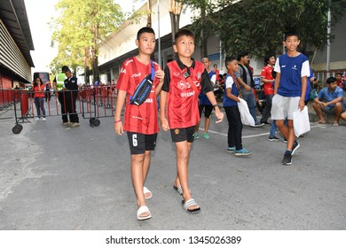 Unidentified fans of SCG Muangthong United in action during The Football Thai League match between SCG Muangthong United and PT Prachuap F.C.at SCG Stadium on February24,2019 in Nonthaburi,Thailand