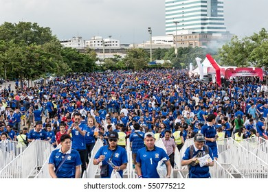 Unidentified fans of Thai supporters during the 2018 World Cup Qualifiers match between Thailand and Japan at Rajamangala Stadium on September 6, 2016 in Bangkok, Thailand