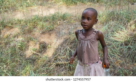 Unidentified girl in the Selous National Park, Tanzania, circa January 2018
