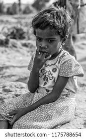 Unidentified girl in a small village called Tala, at the Bandhavgarh National Park in Madhya Pradesh, India, circa April 2011