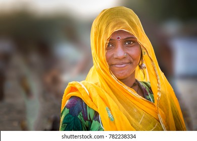 unidentified indian lady in pushkar camel fair in rajasthan on 20 th november 2015