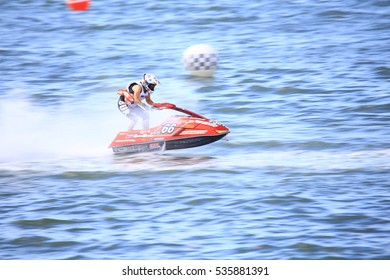Unidentified jet ski racer at Jet ski King's Cup World Cup Grand Prix at Jomtien Beach on Dec 2-4, 2016 in Pattaya City,Thailand.