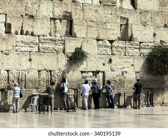 Unidentified jewish worshipers pray at the Wailing Wall an important jewish religious site