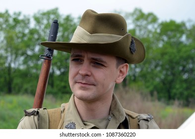 An unidentified member of Red Star club wears historical Australian uniform during historical reenactment of WWII.May 7,2018. Kiev,Ukraine