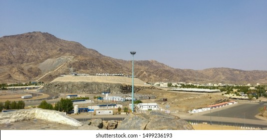 Unidentified mountain view from Jabal Rahmah in Mecca, Saudi Arabia. Jabal Rahmah is where millions of pilgrims congregate during hajj season.