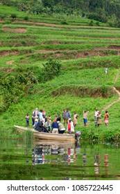 Unidentified people at Lake Bunyonyi in southwestern Uganda, at the borders of Uganda, Congo and Rwanda, in 2012