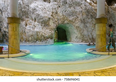 Unidentified people relaxing in a pool located in the limestone cave at Barlagfurdo, a thermal bath complex in Miskolc Tapolca, Hungary. Photo taken on August 13, 2017