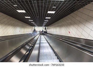 Unidentified People use escalator to access Marmaray train  in Subway metro,Istanbul,Turkey.15 October,2017