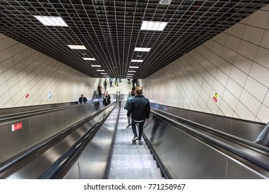 Unidentified People uses escalator to access Marmaray train  in Subway metro,Istanbul,Turkey.15 October,2017