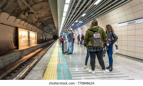 Unidentified People wait for Marmaray train in Subway metro,Istanbul,Turkey.15 October,2017