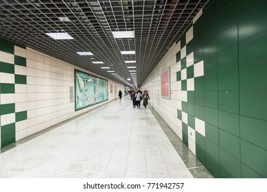 Unidentified People walk to access Marmaray train  in Subway metro,Istanbul,Turkey.15 October,2017