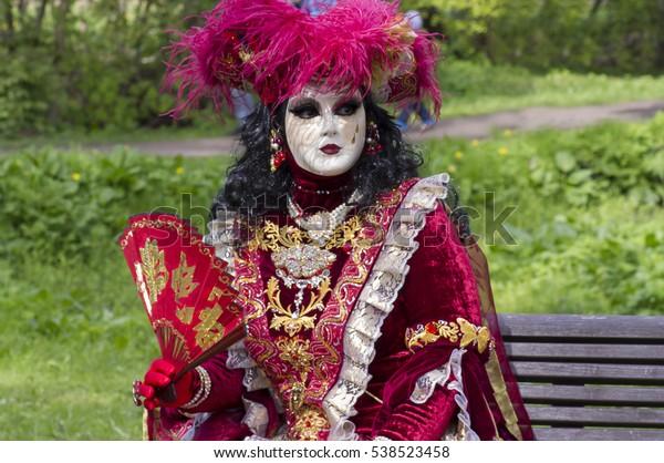 Unidentified Persons Carnival Costumes Tallinn Estonia Stock Photo
