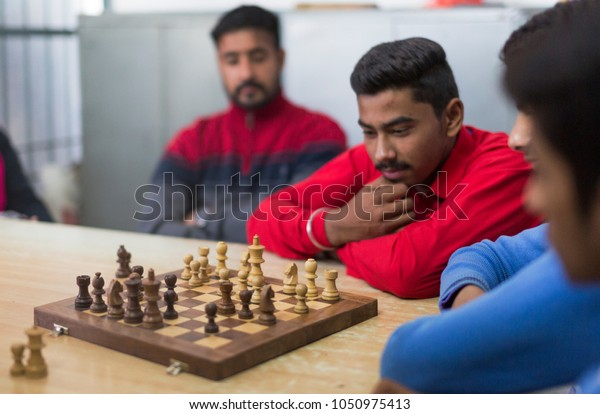 Unidentified Persons Playing Game Chess Ludhiana Stock Photo (Edit