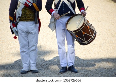 unidentified reenactors, one of them witha drum,in early 19th century uniform during an event relative to the napoleonic wars